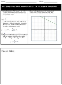 Perpendicular Line Scaffold Notes