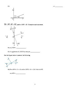 Perpendicular Lines Worksheet packet - Full of Proofs
