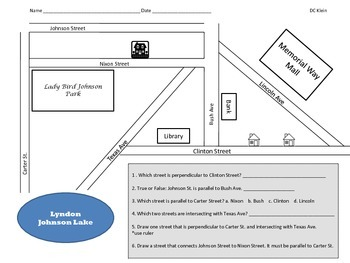 Perpendicular, Parallel and Intersecting lines (city map)