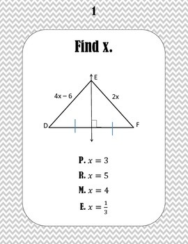 Perpendicular and Angle Bisector Word Scramble