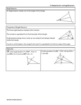 Perpendicular and Angle Bisectors Lesson