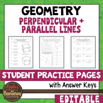 Perpendicular and Parallel Lines - Student Practice Pages