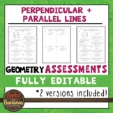 Perpendicular and Parallel Lines Tests - Geometry Editable