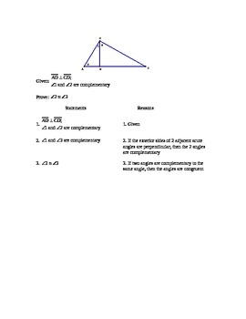 Perpendicular lines Proof Quiz + Key