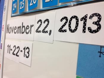 Perpetual Calendar Display Dates for Whiteboard