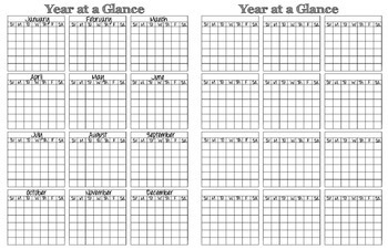 Perpetual Calendar Templates: year-at-a-glace and two-page monthly spreads