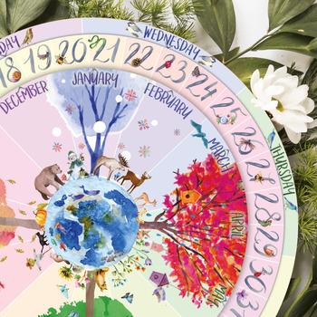 "8"" AND 18"" Perpetual Calendar, Seasonal Calendar, Months and Days of the Week"
