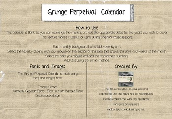 Perpetual Monthly Calendar {Grunge}
