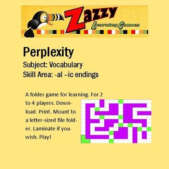 Perplexity Folder Game Vocabulary -al, -ic endings