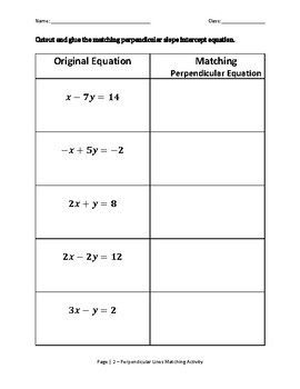 Perpendicular Equations of Lines Matching Activity