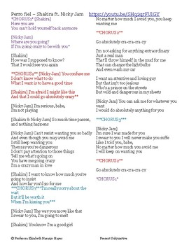 Perro Fiel - Shakira Ft Nicky Jam - Present Subjunctive