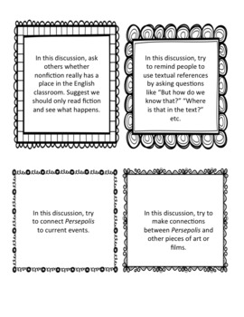Persepolis Set: 9 Class Activities, Discussion Role Cards, Final Project