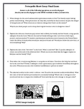 Persepolis Essay Exam Questions Optic Image Analysis By Hannah Zickgraf