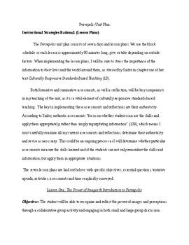 Persepolis Graphic Novel Unit Plan