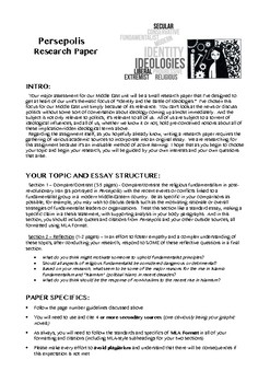 Persepolis Ideologies Research Paper Assignment Rubric Tpt
