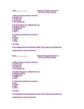 Persepolis Quiz Pack- Plot Comprehension Questions