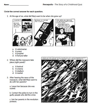 Persepolis Quiz Worksheets Teaching Resources Tpt
