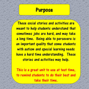 Perseverance : Social Stories and Activities