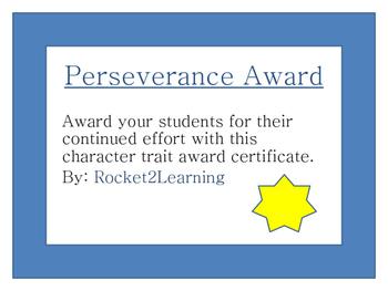 Perseverance Award Certificate