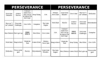 Perseverance Bingo