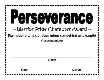 Perseverance Character Award