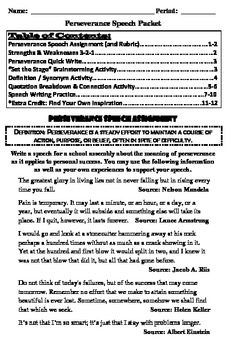 Perseverance Speech Activity Packet