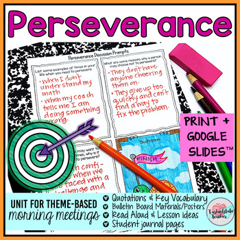 Morning Meeting Activities for Determination Perseverance - Theme in Literature