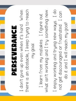Perseverance Virtue of the Month (Character Education)