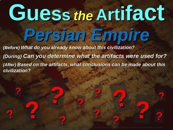 """Persian Empire """"Guess the artifact"""" game: PPT w pictures & clues"""