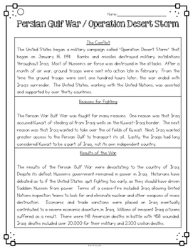 Persian Gulf War Desert Storm Differentiated Reading Passages & Questions