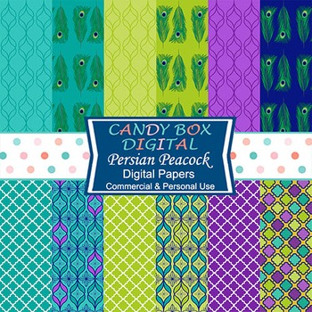 Lime, Teal and Purple Persian Peacock Feather Digital Background Papers