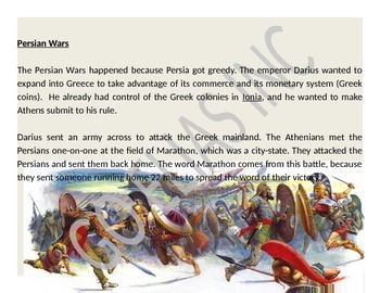 Greek Wars: Persian and Peloponnesean Wars (Reading & Activity)