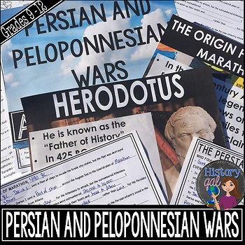 Persian and Peloponnesian War {PowerPoint,Guided Notes,Edi