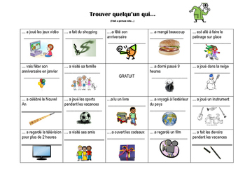 Trouver quelqu'un qui... Winter Edition of Person Bingo in French