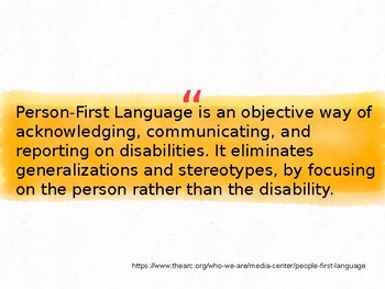 Person First Language, Character Ed Lesson for Grades 6-12