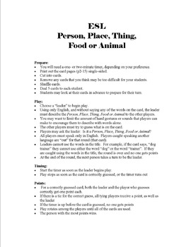 ESL Person, Place, Thing, Food and Animal Game - English Only Version