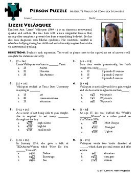 Person Puzzle - Absolute Value of Complex Numbers - Lizzie Velásquez