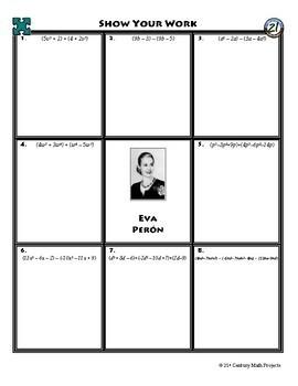 Person Puzzle - Adding & Subtracting Polynomials - Eva Peron WS