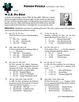 Person Puzzle - Combining Like Terms - W.E.B. Du Bois Worksheet   TpT