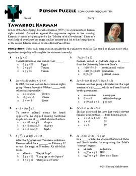Person Puzzle -- Compound Inequalities - Tawakel Karman Worksheet