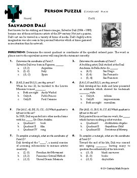 Person Puzzle - Coordinate Plane - Salvador Dali Worksheet