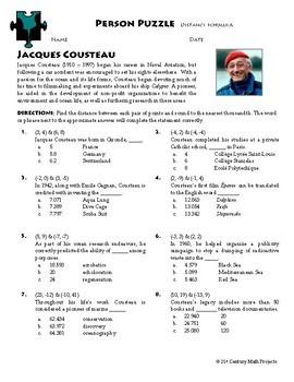 Person Puzzle - Distance Formula - Jacques Cousteau Worksheet | TpT