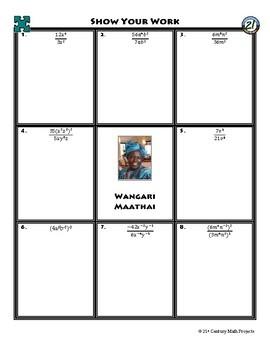 Person Puzzle - Dividing Monomials & Negative Exponents - Wangari Maathai WS
