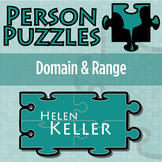 Person Puzzle - Domain & Range - Helen Keller Worksheet