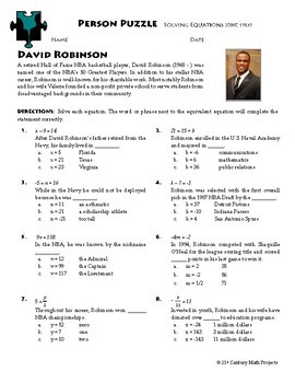 Person Puzzle -- Equations One-Step - David Robinson Worksheet