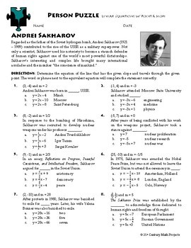 Person Puzzle -- Equations of Lines w/ Point & Slope - Andrei Sakharov