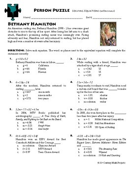 Person Puzzle -- Equations with Decimals - Bethany Hamilton Worksheet