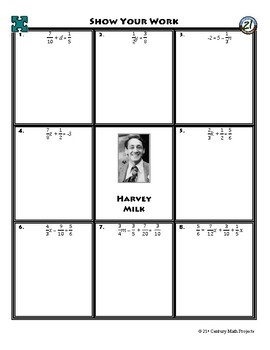 Person Puzzle - Equations with Fractions - Harvey Milk Worksheet