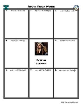 Person Puzzle - Evaluating Functions - Evelyn Glennie Worksheet