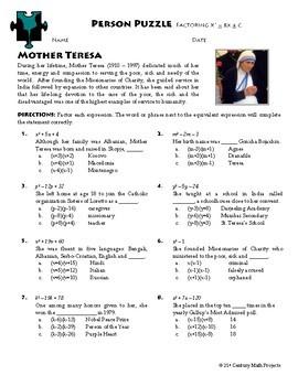Person Puzzle - Factoring - Mother Teresa Worksheet | TpT